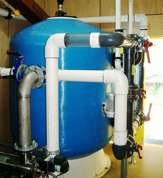 Fiberpool filters with PE piping and valve harness assembly
